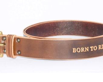 Mens Leather Biker Belt 'Born To Ride'