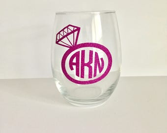 Bridal Party Wine Glasses | Monogrammed Wine Glasses | Bridesmaid Wine Glass | Bridal Party Gifts | Bridesmaid Gift