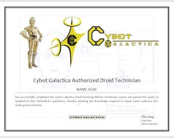 Star Wars Certificate - C3P0 Certified Droid Technician