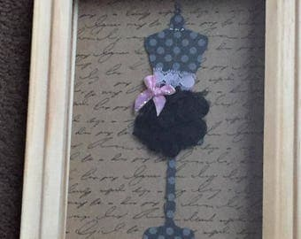 Shadow Box with Paper and Fabric Skirt on Dress Form