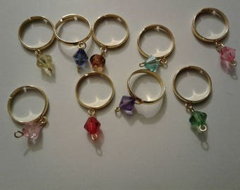 set of metal rings with charm