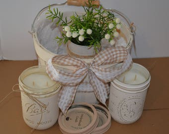 Candle Gift Basket with 2 Mason Jar highly scented Baked Apple Pie and Pecan Waffle scent jars white distressed,wow candles and crochet,