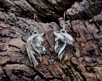 Silver Twin Horse Head Earrings