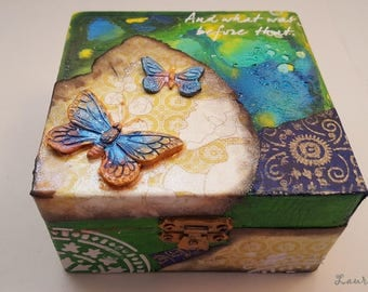 Butterflies decorated wooden box, hand painted, polymer clay, trinkets box