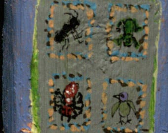 Two Sided Small Block - Multicolored Octagon Star/Ant, Frog, Spider and Bird Collection
