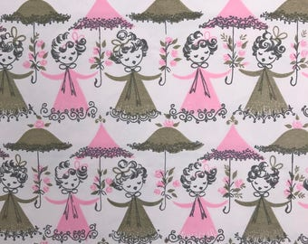 Vintage Dennison Bridal Shower Wrapping Paper One Sheet