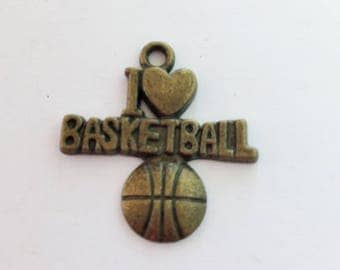 Antiqued Bronze I Love Basketball Charms 21 x 20mm
