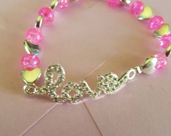 Rhinestone Love Bracelet with Pink Glass Beads and Metal Hearts