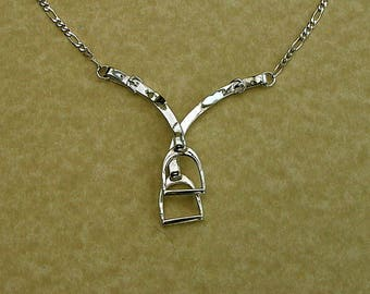 Large Stirrup & Leathers Pendant in Hallmarked Sterling Silver.