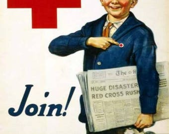 War Poster For The Red Cross,  Red Cross  Boy With Newspaper