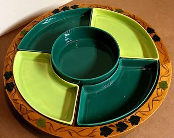Vintage Green Ceramic Party Tray on a Wooden Lazy Susan