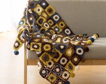 Brown afghan crochet blanket  Mori   Rural pastoral style wedding  romantic bedspread
