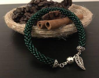 Handmade Bracelet with Crochet Beads in green.