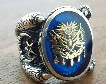 Handmade Silver Mens Ring With Enamel