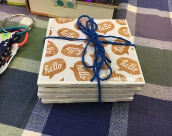 "Handmade ""Hello"" coaster set"