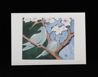 Doves in Apricot Tree 1, Mourning Dove Note Card from Acrylic Painting by Karlene Voepel