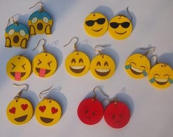 """Hand painted wood earrings """"EMOJI"""" (# 1 choice model)"""
