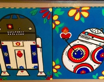 Starwars R2D2 and BB8 Acrylic Paintings