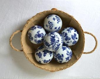 Set of 6 Vintage Blue and White Porcelain Orbs