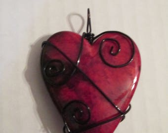 Wire Wrapped Red Heart Pendant