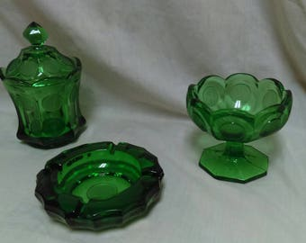 Vintage emerald green coin glass