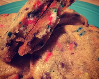 Chocolate Chip Confetti Cookies with Buttercream Frosting