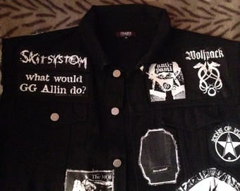 Crust Punk Black Denim Cut-Off Battle Jacket XL Discharge Amebix Wolfbrigage Icons Of Filth Mob Zounds GG Allin Skitsystem Subhumans