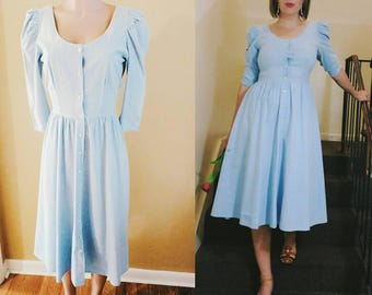 Vintage Chambray Button Front Full Skirt Dress