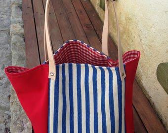 """Saco / Bag """"Navy Red"""", shoulder bag, red, stripes, square bag, saco grande, vermelho, riscas hand made , made in Portugal"""
