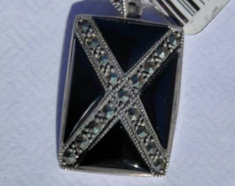 925 Genuine Sterling Silver, Onyx, Marcasite Pendant