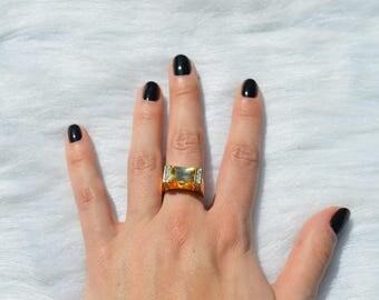 Yellow Diamond Sandwich Ring