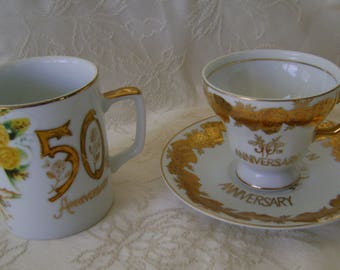 His and Hers 50th Anniversary Cups
