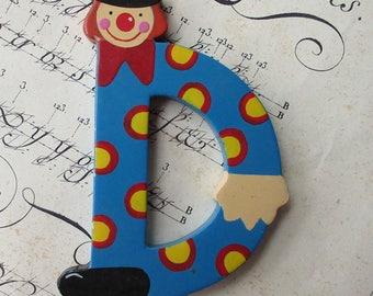 Sevi Italy Vintage Wooden Clown Letter D