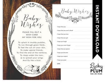 Fox Baby Wishes / Woodland Baby Wishes / Forest Baby Wishes / Animal Baby Wishes / DIY Printable