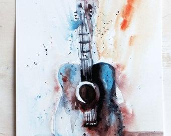 Guitar, Art print, Watercolor Art print, wall art, home decor, For the Musician , Guitar painting,