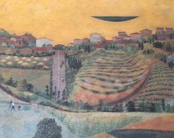 "Print of the painting titled ""Uno sguardo su Campiglia Marittima"" by Sergio Agostini, 1969"