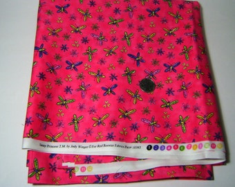 Sassy Princess Hot Pink Butterfly & Floral Quilt Crafting 2+ Yds Pattern #10393