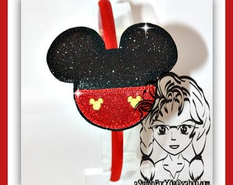Mr MoUSE Inspired HB Slider Hair Pretty Accessory ~ In The Hoop Headband ~ Downloadable DiGiTaL Machine Embroidery Design by Carrie
