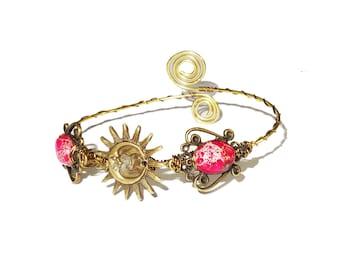 Sun and moon brass ethnic bohemian upper arm bracelet armlet