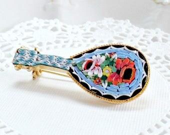 Vintage Brooch, Micro Mosaic Brooch, Mandolin Brooch, Italy Mosaic Brooch, Blue Mosaic Brooch, Blue Mosaic Pin, Italian Brooch, Blue Pin