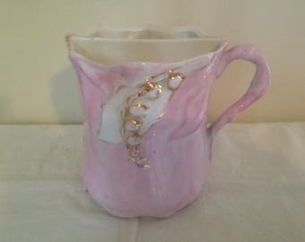 Vintage Mustache Cup Mug Lily Of The Valley Pink Real Gold Trim Edwardian Gentleman For Your Vintage Kitchen