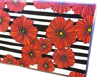 Red Poppies checkbook cover - black and white stripe check book holder - red poppy flowers - modern floral