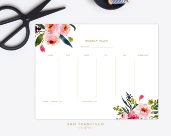 Weekly Planner Printable |  Letter-sized Watercolor Floral Weekly Plan | Floral Stationary | Elise Collection | PDF, Instant Download