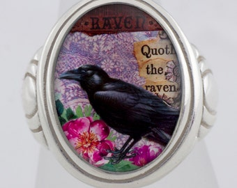 The Raven Poe collage Sterling Silver or Bronze Ring (Sizes 5-14 w/ half sizes)