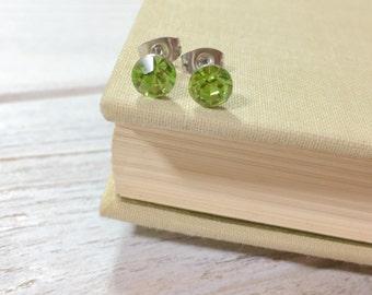 Green Rhinestone Stud Earrings, Small Peridot Rhinestone Studs, August Birthstone Studs, Green Glass Studs, Surgical Steel Studs (HJ4)