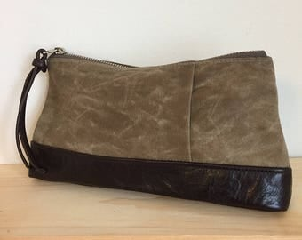 Tan Waxed Canvas and Brown Leather Pouch