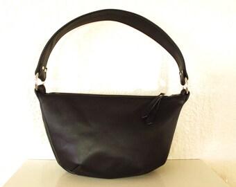 Small Black Leather Hobo Zipper Bag