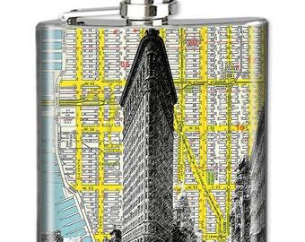 NYC Flask, Photo Flask, Art Flask, Liquor Flask, HIp Flask - Handmade - FLATIRON MAP - Sealed in Resin - 4 sizes