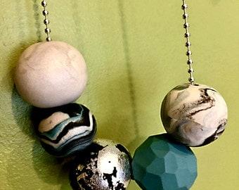 Chunky Bead Necklace Handmade OOAK Silver Chain Modern Jewelry - Minimalist -