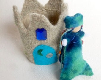 Mermaid with sand castle play set Waldorf inspired toy felted wool toys